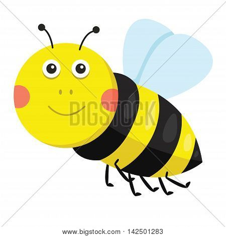 Illustration of bee smile on white background