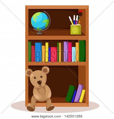 Illustrator of bookcase and book for home