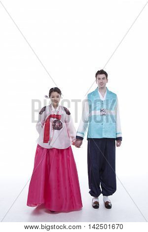 Happy Newlyweds Couple in Traditional Korean Dress