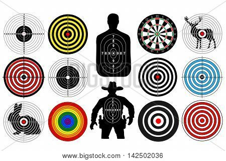Big set of targets isolated animals people cowboy man. Targets for shooting. Darts board. vector