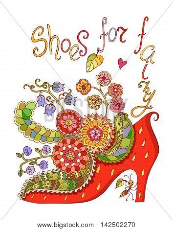 Shoes for fairy with beautiful flowers. Colorful doodle vector illustration.