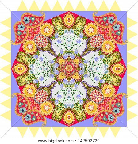 Flower Mandala and Paisley. Beautiful colorful floral pattern. Bandana print. Tablecloth template. Vector illustration.