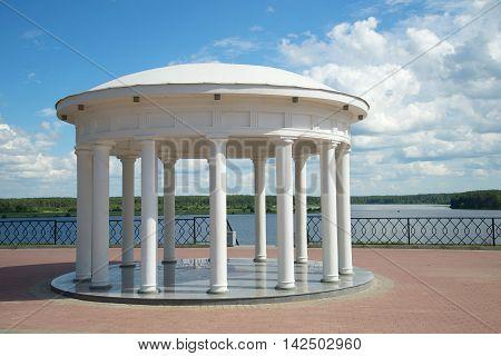The old rotunda on the Volga embankment a sunny day in july. Myshkin Russia