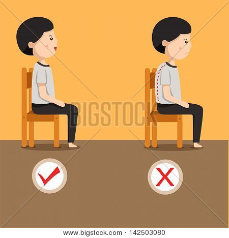 Illustrator of man sitting position on the chair