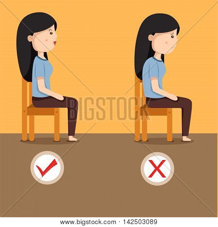 Illustrator of women sitting position on the chair