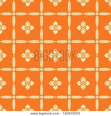 Seamless retro pattern with flowers in orange and yellow colors. Elegant floral ornament in folk style. Vector illustration for fashion design