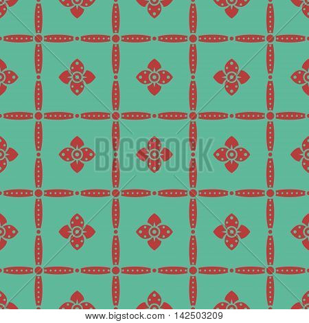 Seamless retro pattern with flowers in red and turquoise colors. Elegant floral ornament in folk style. Vector illustration for fashion design