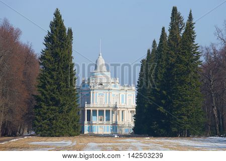 LOMONOSOV, RUSSIA - MARCH 27, 2015: View of the pavilion