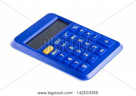 Blue the calculator isolated on white background