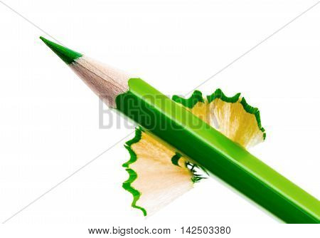 sharpened green pencil isolated on white background