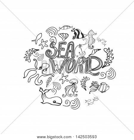 Hand drawn set with sea animals.Underwater life design. Tropical sea life background. handdrawn poster with lettering with different sea creatures. Design element for travel company made in vector. Adventure banner. Diving concept.