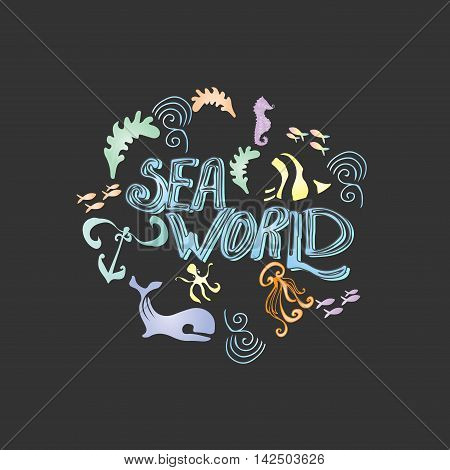 Hand drawn set with sea animals. Underwater life design. Tropical sea life background. handdrawn poster with lettering with different sea creatures. Design element for travel company made in vector. Adventure banner. Diving concept.