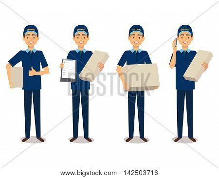 Full length portrait of delivery man in blue uniform holding boxes and documents