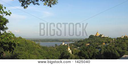 View From The Sagaing Hill On Paya Mingun And Amarapura With The Ayeyarwady River, Mandalay, Myanmar