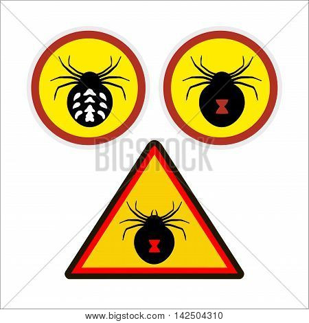 warning sign. danger. deadly spiders. be careful.