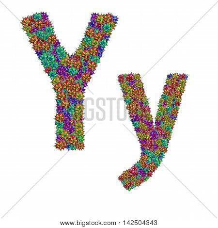 letter Y made from bromeliad flowers isolated on white background with clipping path