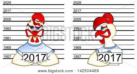 Rooster Chinese horoscope 2017. Decorative funny cartoon rooster bully and troublemaker in the photo at the police station., face and profile. Illustration for backgrounds and printed materials.