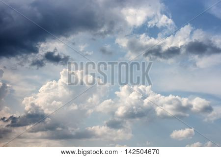Dark blue sky background with cloud in nature episode sunset  beautiful