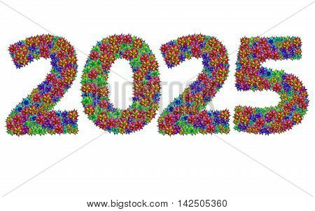 New year 2025 made from bromeliad flowers isolated on white background with clipping path