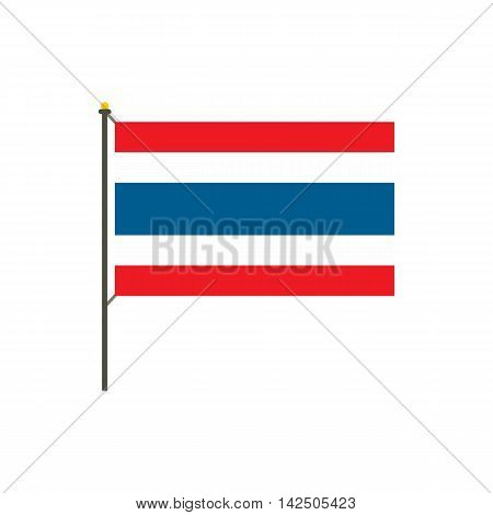 Flag of Thailand icon in flat style isolated on white background. State symbol