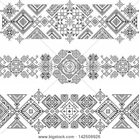 seamless ethnic borders with native american motifs vector