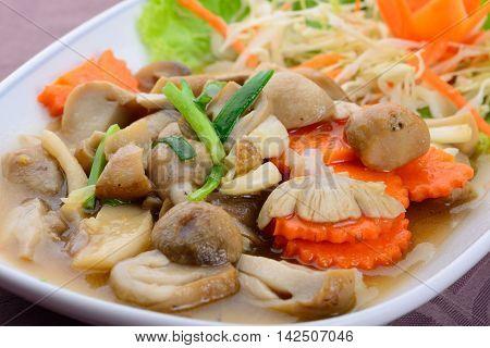 Fried mushroom in oyster sauce Thai food