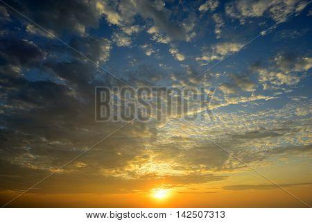 The beautiful sunrise sky with warm cloud