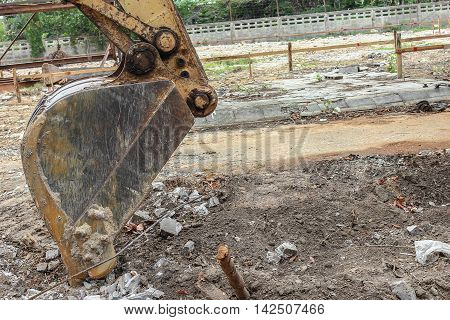 Excavator working destruction in Work outdoor construction