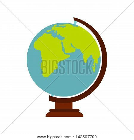 Globe icon in flat style isolated on white background. Geography symbol