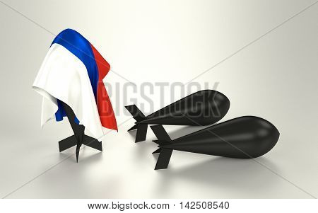 A bomb hidden under a russian flag. 3D rendering