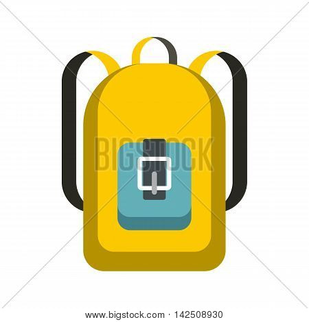 School backpack icon in flat style isolated on white background. Bag symbol