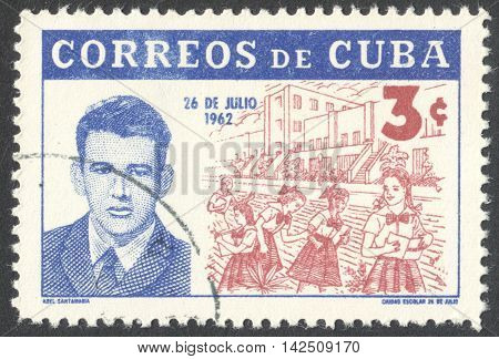 MOSCOW RUSSIA - CIRCA APRIL 2016: a post stamp printed in CUBA shows a portrait of Abel Santamaria the series