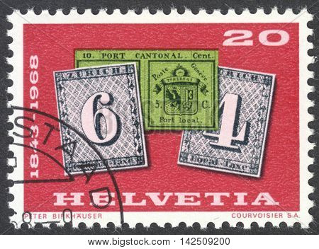 MOSCOW RUSSIA - CIRCA APRIL 2016: a post stamp printed in SWITZERLAND shows Geneva and Zurich stamps circa 1968