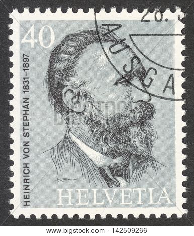 MOSCOW RUSSIA - CIRCA APRIL 2016: a post stamp printed in SWITZERLAND shows a portrait of Heinrich von Stephan the series