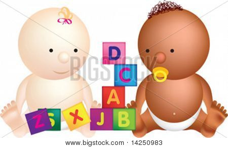 2 babies play with building blocks with letters on