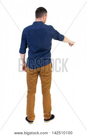 Back view of pointing business man.  Rear view people collection.  backside view of person.  Isolated over white background. a man in a blue shirt with the sleeves rolled up showing in the bottom