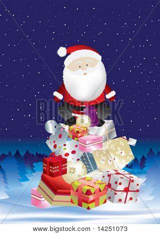 Santa en pila de regalos