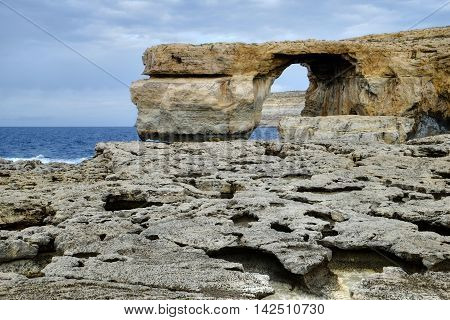 Dwejra bay, with its limestone arch and rock formations, on the Maltese island of Gozo.