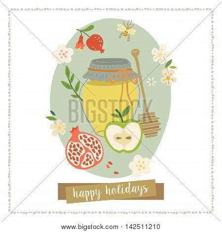 Greeting Card Design For Jewish New Year Rosh Hashana. Hand Drawing Vector Illustration