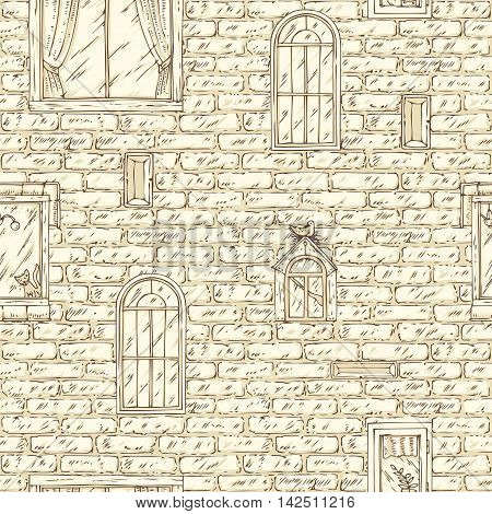 Seamless Vector Pattern with Beige Brick Wall and Windows. Hand Drawn Illustration
