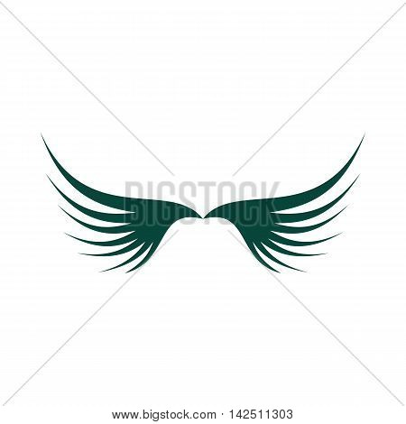 Two green wing icon in flat style isolated on white background. Flying symbol