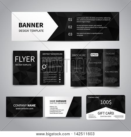 Banner, flyers, brochure, business cards, gift card design templates set with geometric triangular black background. Corporate Identity set, Advertising, Christmas party promotion printing