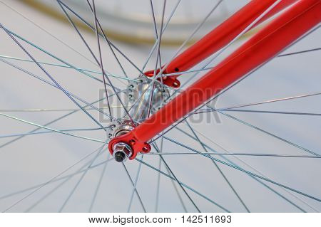 Bicycle spoke detail closeup. Detail view with hub and spokes of one bicycle wheel.
