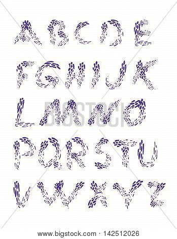 Raindrops. Alphabet set. Hand drawn font for your design. Decorative letters. Water drops.