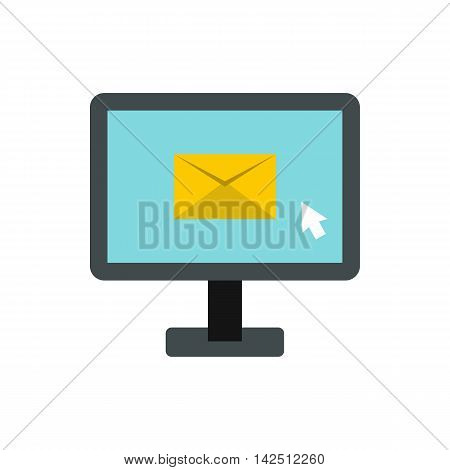 Writing e-mail on computer icon in flat style isolated on white background. Message symbol