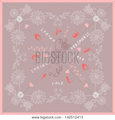 I love you - spring bandana print. Vector illustration.