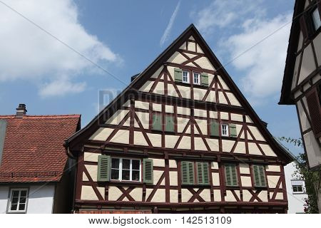 Traditional medieval half-timbered houses in Marbach am Neckar, Baden-Wurttemberg, Germany.