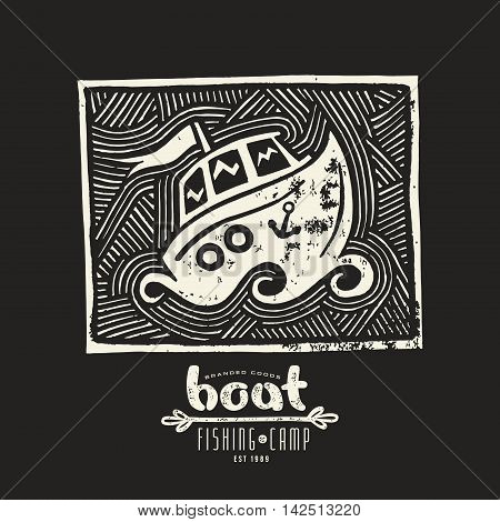 Stock vector linocut with a picture of boat. Graphic design for t-shirt. White print on black background