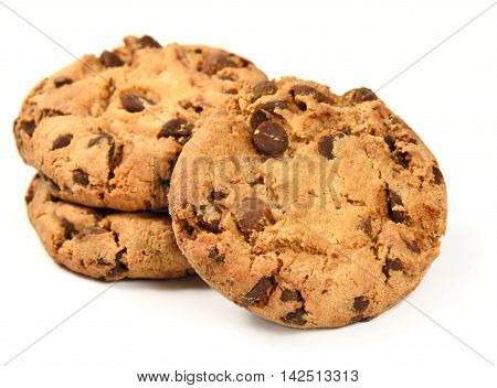 Stack of fresh american cookies. chocolate cookies, isolated on white background.