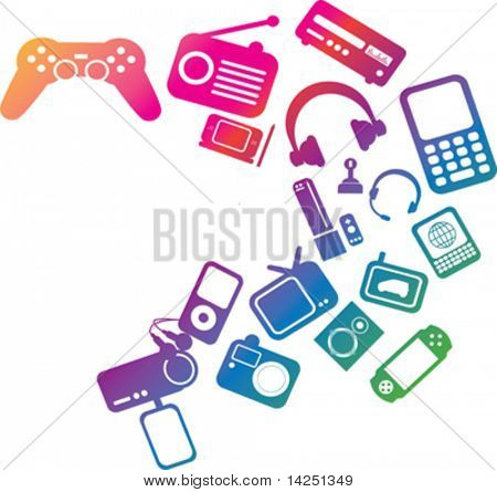 modern electronic entertainment illustration multi coloured graphic
